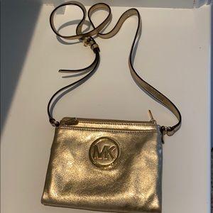 Michael by Michael Kors gold crossbody purse